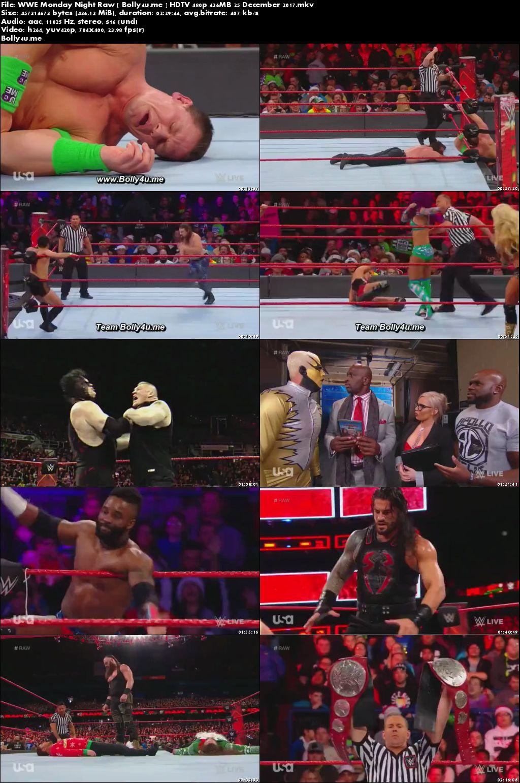 WWE Monday Night Raw HDTV 480p 400MB 25 Dec 2017 Download