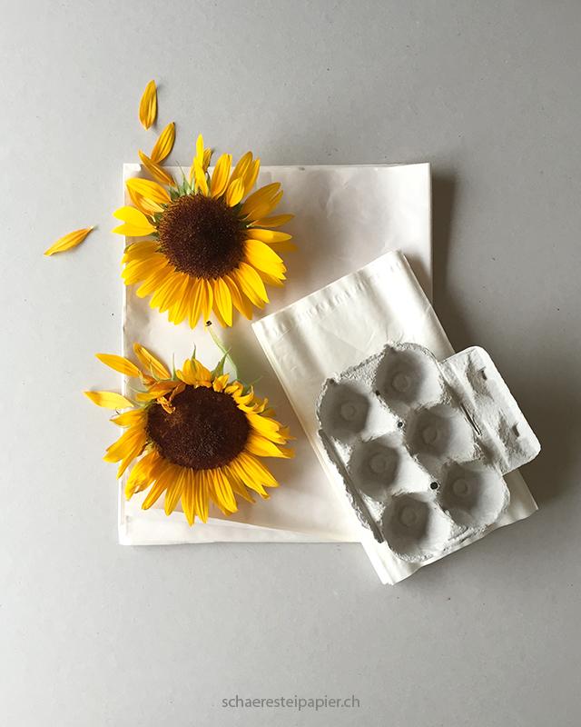 schaeresteipapier pflanzpapier aus sonnenblumen papier m ch mit bl tenbl ttern und kernen. Black Bedroom Furniture Sets. Home Design Ideas