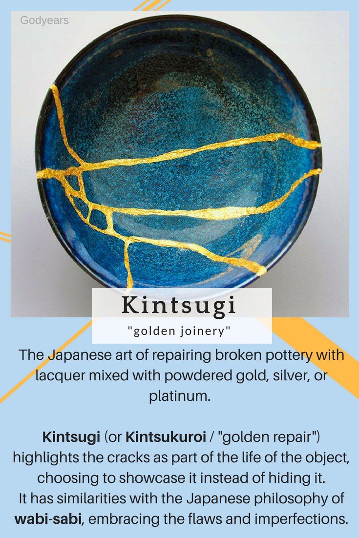 """The Japanese art of repairing broken pottery with lacquer mixed with powdered gold, silver, or platinum.  Kintsugi (or Kintsukuroi / """"golden repair"""") highlights the cracks as a part of the  life of the object, choosing to showcase it instead of hiding it.   It has similarities with the Japanese philosophy of wabi-sabi, embracing the flaws."""