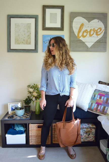 Outfit of the day, Beach Lunch Lounge shirt and Madewell tote