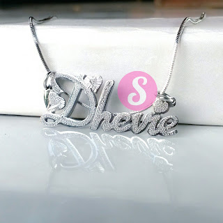 kalung nama monel silver grafir - dhevie