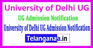 University of Delhi UG 2019 Admission Notification