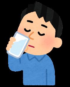 鼻うがいのイラスト(コップ・飲む)