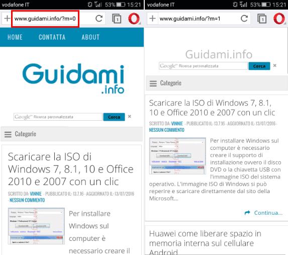 Stringa per forzare versione desktop sito su cellulare e tablet