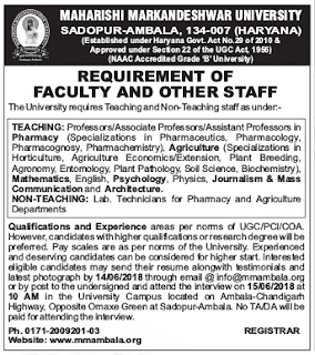 MM University Ambala Recruitment 2018 – Teaching & Non-Teaching Jobs