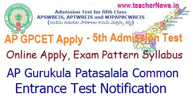 AP Gurukulam 5th Class Admission Notification 2018 APGPCET Admission Test Online Apply @ apgpcet.apcfss.in