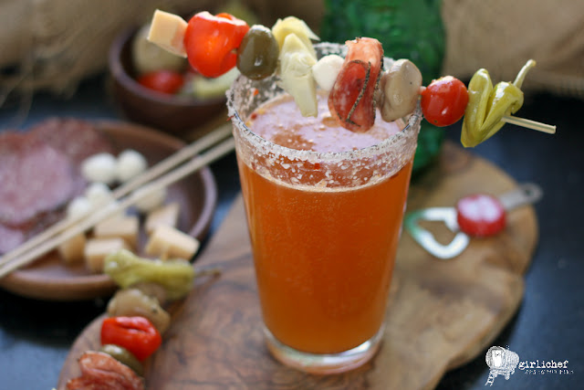 Bloody Beer w/ Antipasto Kebab garnish