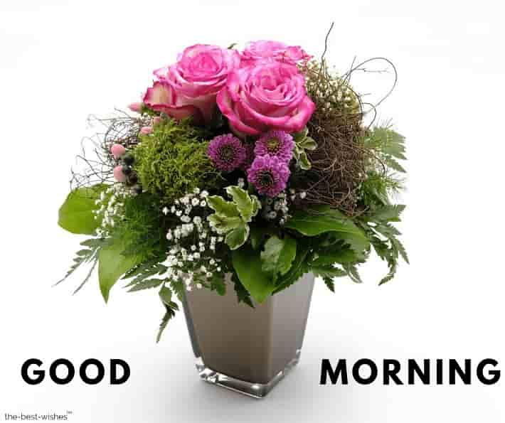 good morning greeting with a bouquet flowers roses