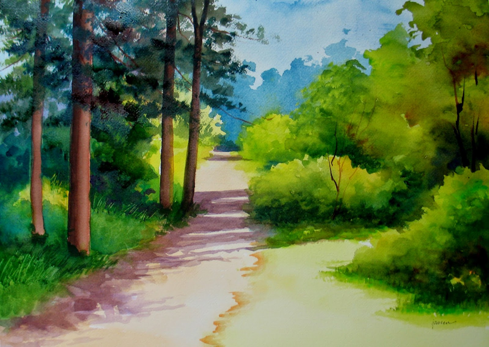 Watercolor landscape sold