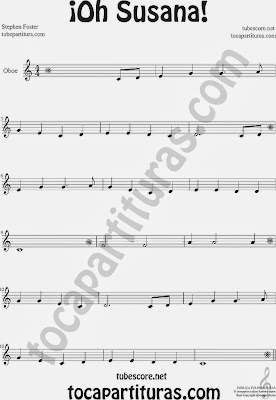 ¡Oh Susana! Partitura de Oboe Sheet Music for Oboe