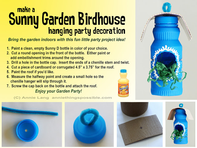 Annie Lang shares a DIY Birdhouse Party Decoration project made from a Sunny D Bottle