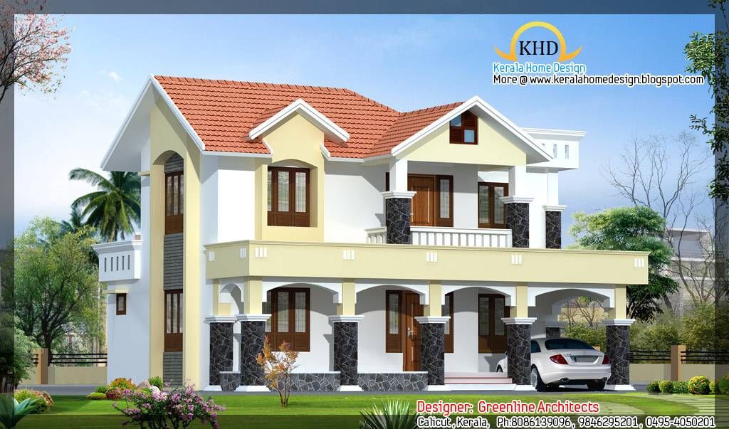 House elevation 2110 sq ft kerala home design and for New kerala house plans with front elevation