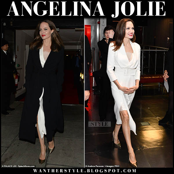 Angelina Jolie in black max mara coat and white wrap ralph and russo midi dress celebrity elegant style november 23