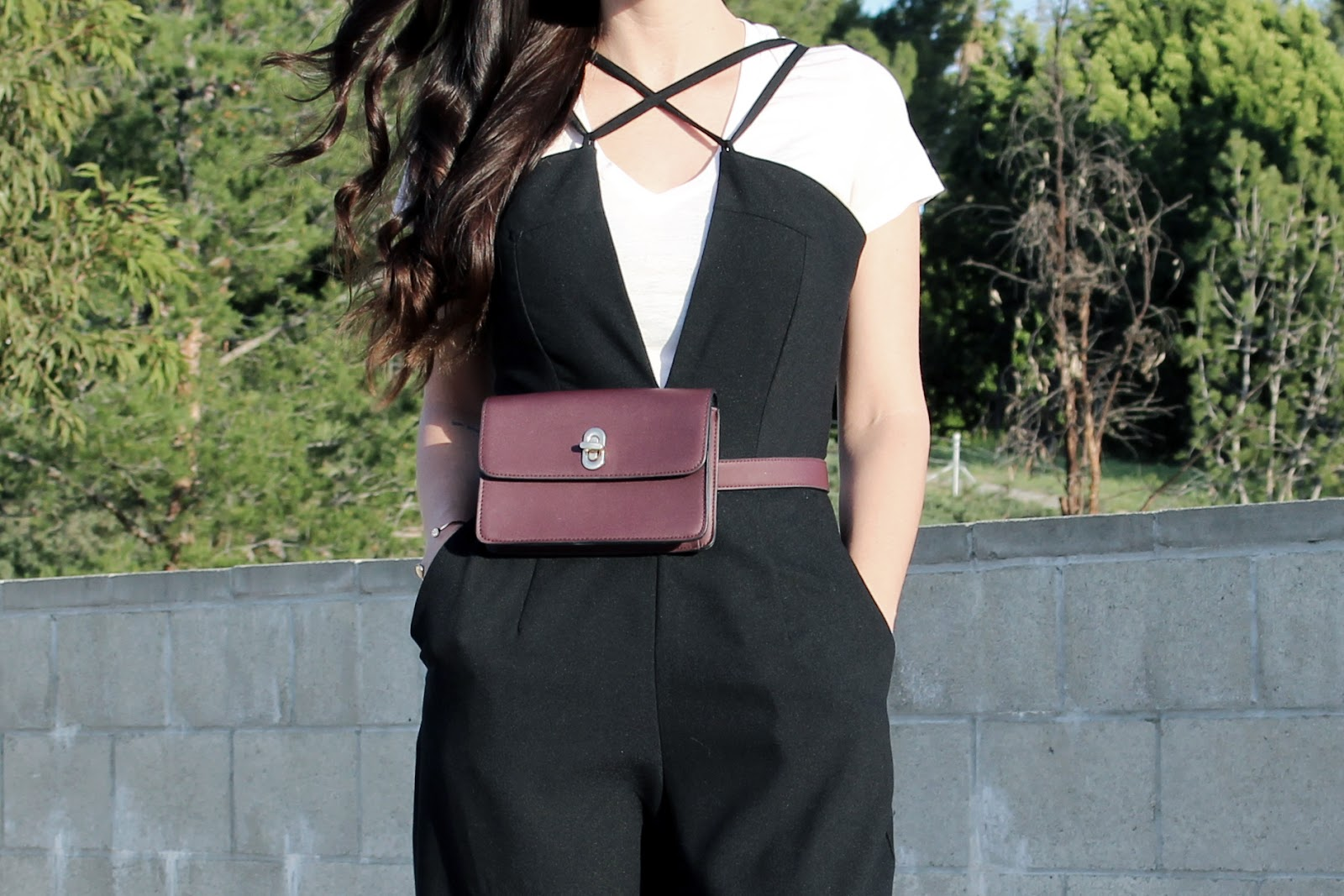 jumpsuit, layered outfit, fedora hat, street style, toursestfu, wide leg pants, belt bag, fanny pack, spring 2016,