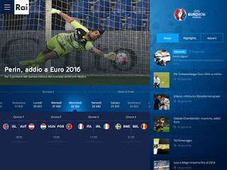 L'app Rai Euro2016 vers 1.1