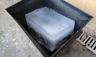 A slightly smaller block of ice than previously