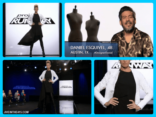 Project Runway Team's Edition Season Eleven contestant Daniel Esquival and his episode 12 runway look.