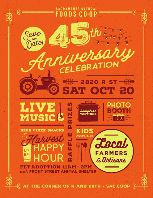 See you Saturday at the Sacramento Natural Foods Co-Op 45th Anniversary