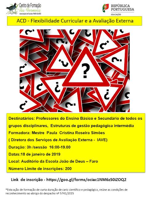 cartaz ACD - Flexibilidade Curricular e a Avaliação Externa