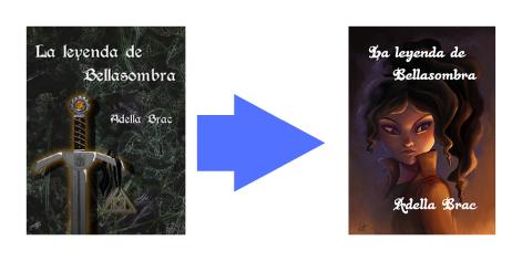 La primera portada un fondo gris con una espada, la segunda portada una ilustración de una mujer con el cabello largo