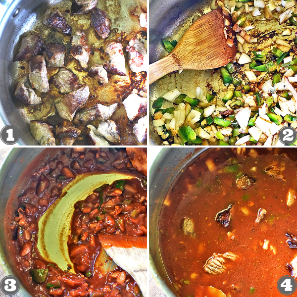 Step-by-step photos of how to make Puerto Rican Beef Stew - Carne Guisada