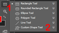 Select Custom Shape Tool in Photoshop.