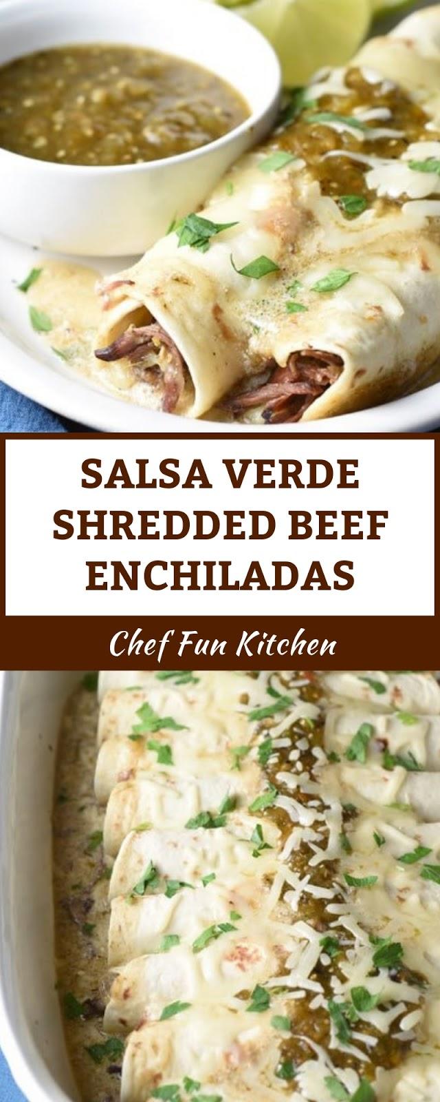 SALSA VERDE SHREDDED BEEF ENCHILADAS