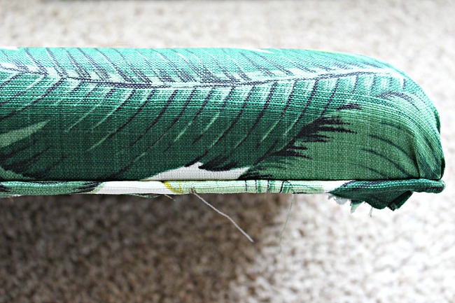 how to recover a bench cushion, how to recover a chair seat tutorial, bamboo bench