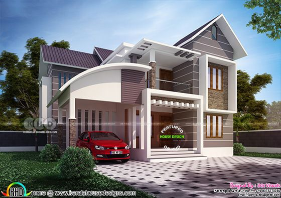 Front elevation rendering of 4 bedroom mixed roof house
