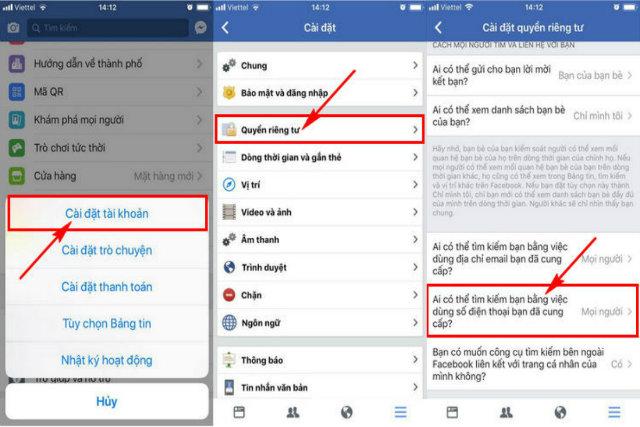 chặn tìm kiếm facebook bằng số điện thoại 3
