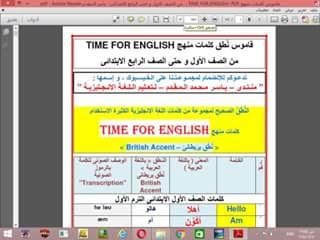 قاموس نطق و ترجمة كلمات منهج Time For English من الصف الاول وحتى
