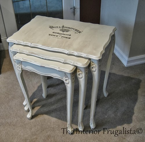 Nesting table makeover with chalk paint and a French Graphic.