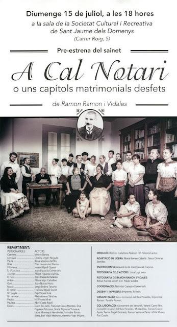 Esguard de Dona - Representació Teatral de l'obra A Cal Notari o uns capítols matrimonials desfets, de Ramon Ramon i Vidales - Sant Jaume dels Domenys, diumenge 15 de juliol de 2018 a les 18 hores, Societat Cultural i Recreativa