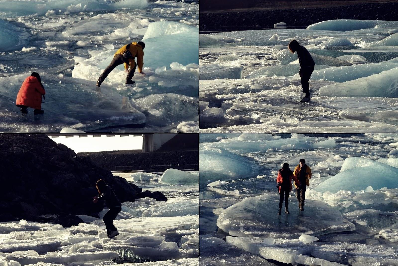 turyści, lodowiec, Islandia, Jokulsarlon, głupi turyści