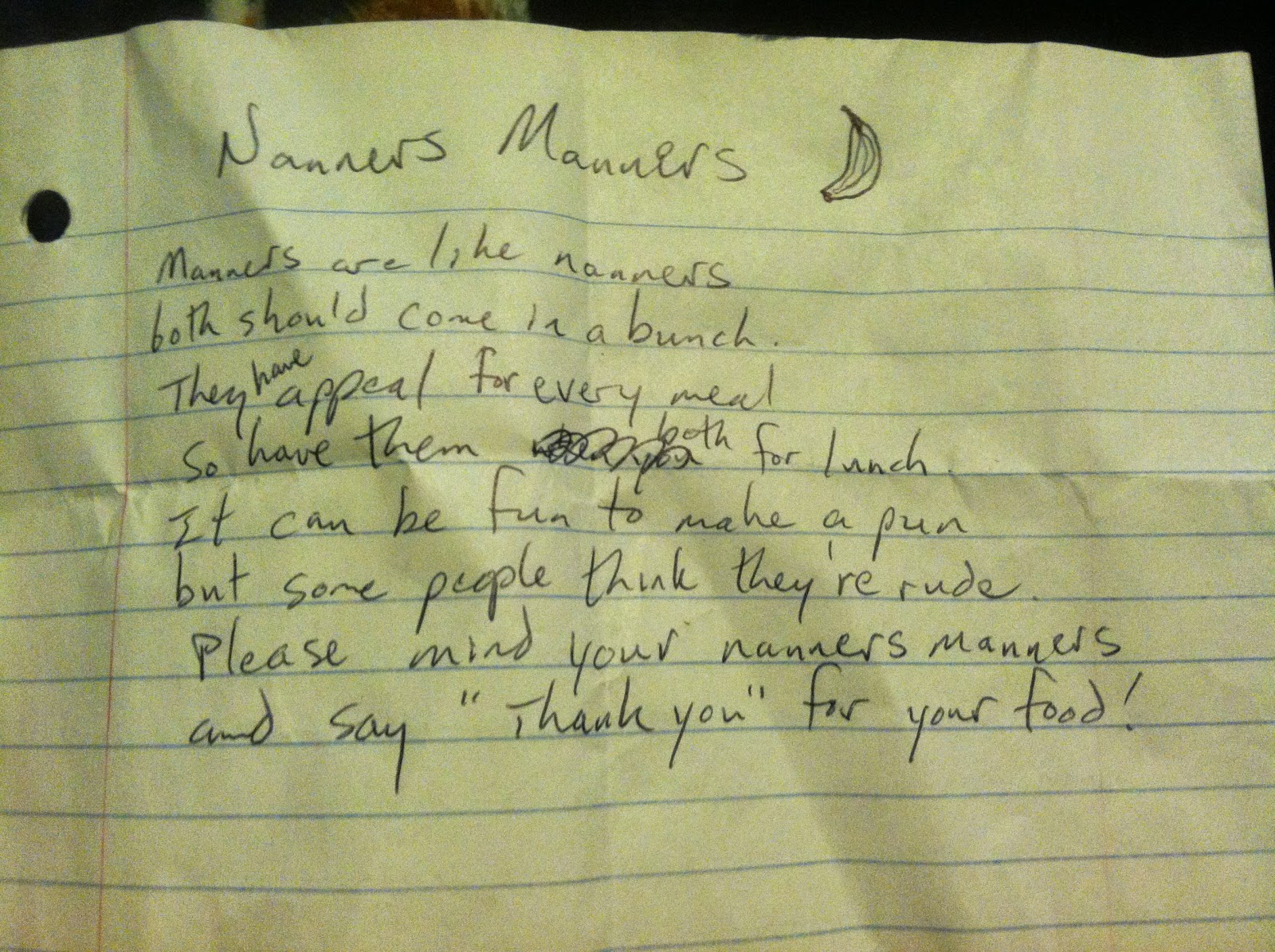 Nanners manners