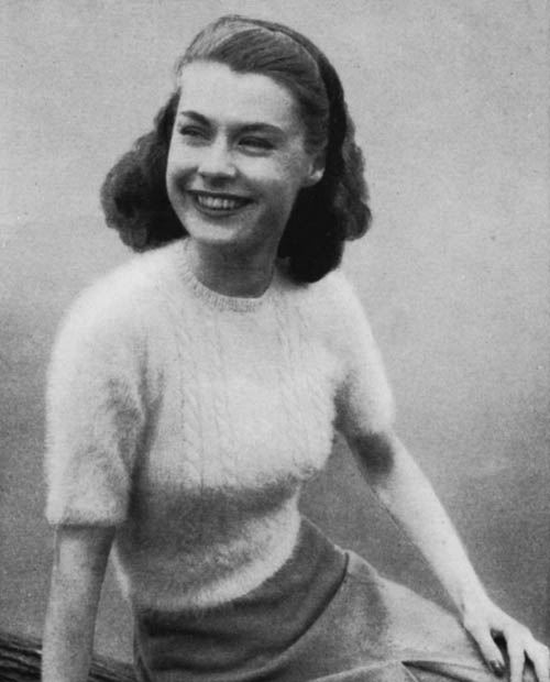 The Vintage Pattern Files: 1940s Free Knitting Pattern - Teenagers Angora Cable Sweater