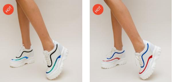 Adidasi moderni 2019 de femei cu talpa groasa albi superbi