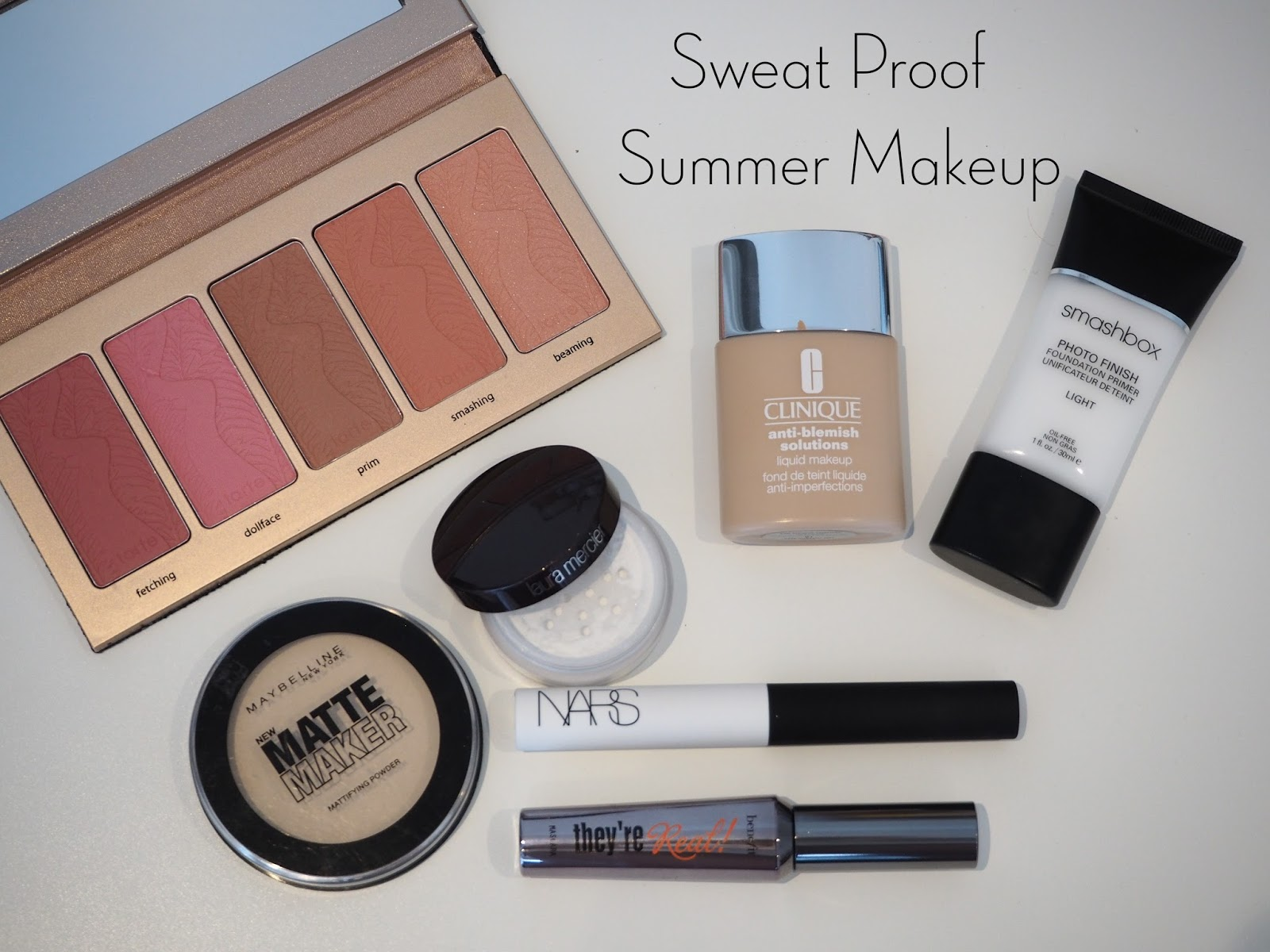 sweat proof summer makeup, oily skin makeup, combination skin makeup, smashbox photo finish primer light, clinique anti-blemish solutions foundation, maybelline matte maker powder, laura mercier secret brightening powder, tarte amazonian clay 12 hour blush, nars pro prime smudge proof eyeshadow primer, benefit they're real mascara