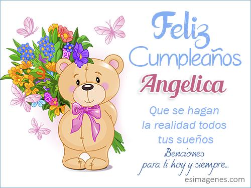 Feliz Cumpleaños Angelica - Imágenes Tarjetas Postales con
