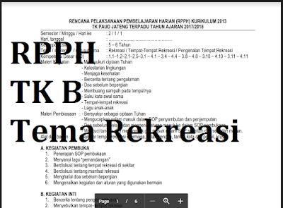 rpph tk b semester 2 tema rekreasi subtema perlengkapan rekreasi