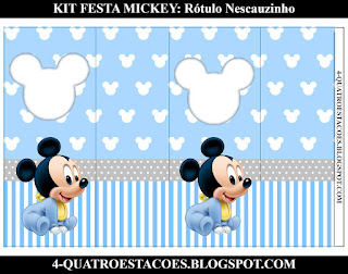 Quatro Estacoes Kit Festa Mickey Baby Rotulos