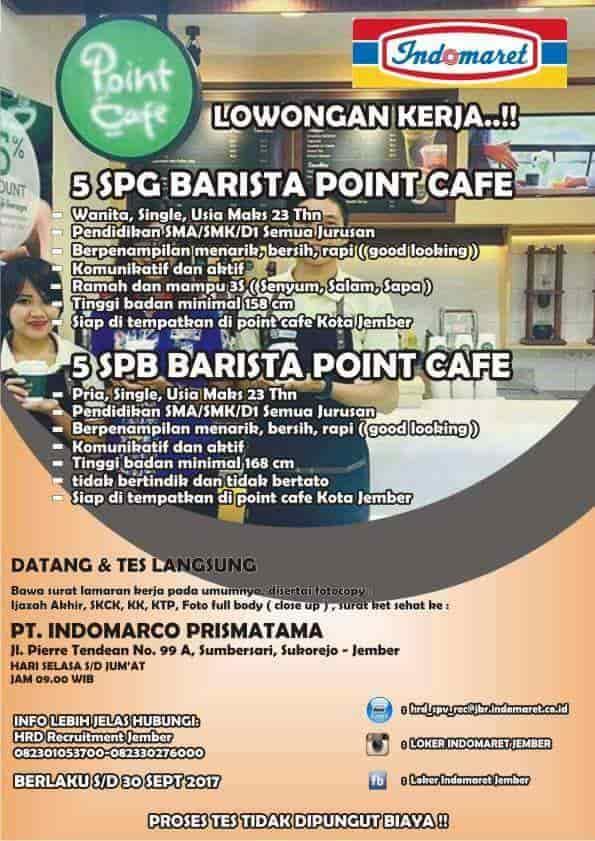 Lowongan Kerja Point Cafe Pt Indomarco Prismatama Info