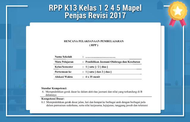 RPP K13 Kelas 1 2 4 5 Mapel Penjas Revisi 2017