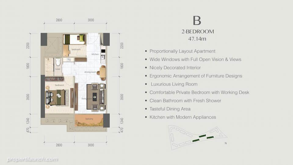 Denah Apartemen BSD Sky House 2 BR