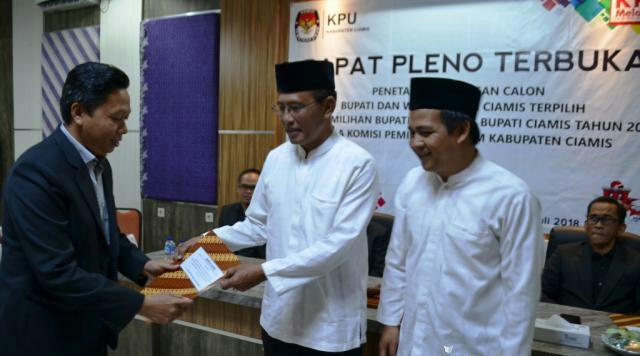KPU Ciamis Tetapkan Herdiat-Yana Sebagai Pemenang Pilkada 2018