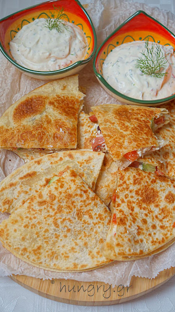 Quesadillas with Greek Feta & Sausage