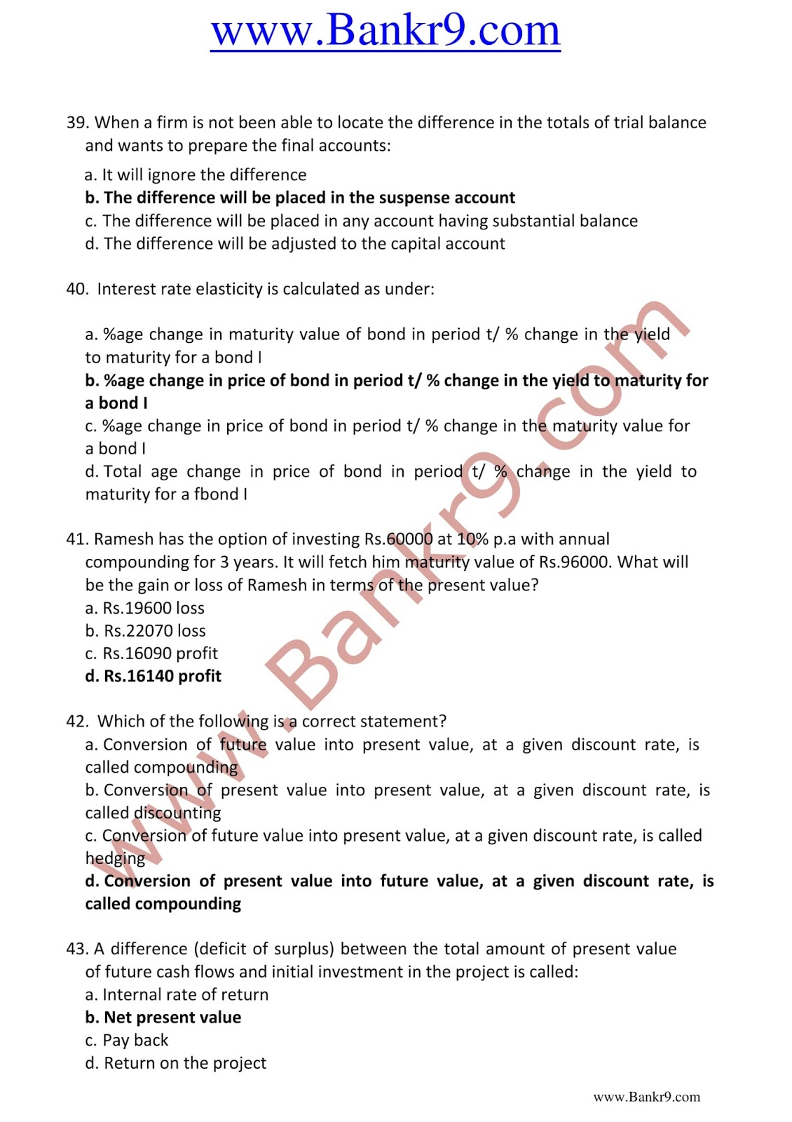 JAIIB 2nd Paper Accounting and Finance for Bankers Previous Year Question Papers Based on Memory
