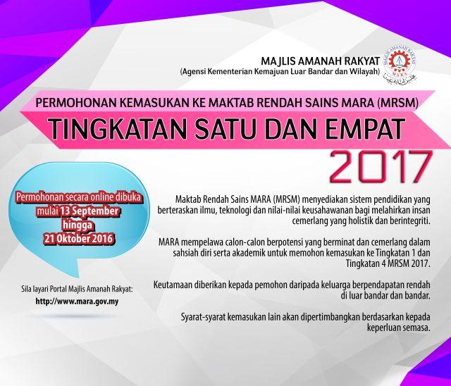 PERMOHONAN Online MRSM Tingkatan 1 dan Tingkatan 4 Tahun 2017 KINI DIBUKA. Ibubapa & Guru Mohon Ambil Tindakan Segera!