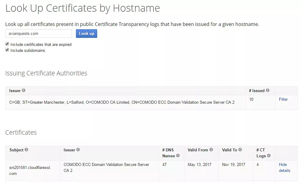Google Transparency Look Up Certificates by Hostname