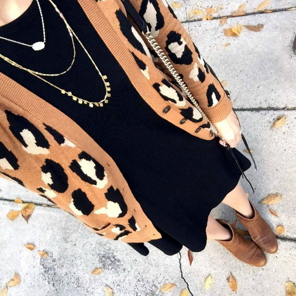 leopard cardigan, little black dress, stella and dot